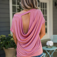 Tinsel Town Open Back Slouchy Top (Pink)