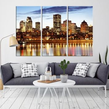 67755 - Montreal Wall Art Canvas Print - Canada Montreal City Skyline Large Canvas Print