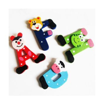26pcs Wooden Cartoon Animal Alphabet ABC-Z 26 Letters Magnet Wooden Children Toy Preschool Learning Tool Educational toys