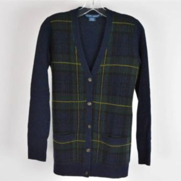 RALPH LAUREN Navy Green Wool Cashmere Plaid Sweater Cardigan Size S