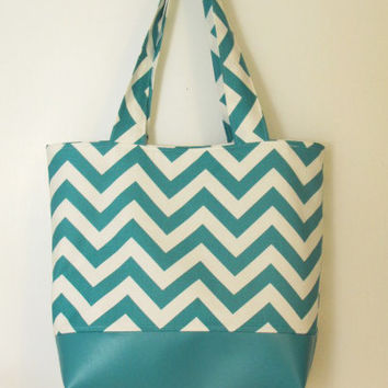 Turquoise Chevron with Turquoise Vinyl Bottom Tote - Large Tote - Shopping Bag - Diaper Bag