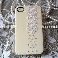 crystal mini flowers iPhone cover, bling bling iPhone 5 case, iPhone 5 cases, iPhone 4s case with crystal, handmade iPhone 4 cases
