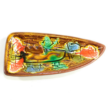 Mid-Century Tiki Ceramic Ashtray - Colorful Retro Hand Painted Interior Accent, End Table or Man Cave - Vintage Home Decor