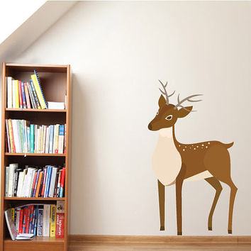 Christmas Reindeer Wall Decal - Vinyl Fabric - Vinyl Sticker - Chirstams Decoration -  CD57