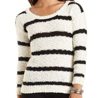 Fuzzy Textured Stripe Sweater by Charlotte Russe - Ivory Combo