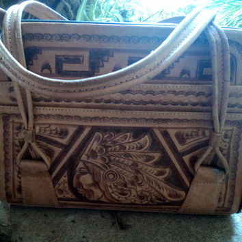 70s Aztec Tooled Handbag Leather Embossed Detailed Native Chief Mayan Calendar 14.5 x 11.5