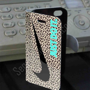 Nike just do it leopard wall PVC (syntetic) Leather Folio Case for iPhone and Samsung Galaxy