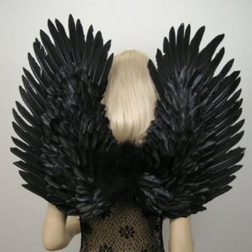 FashionWings (TM) Adults' Black Duo Use Costume Feather Angel Wings Point Up or Down