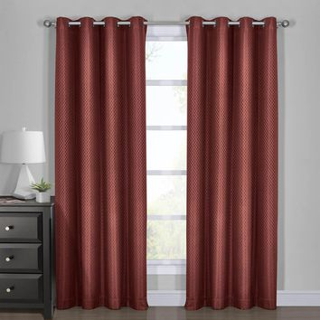 BRICK 100% Blackout Curtain Panels - Diamond Jacquard Woven Drape Theme (Two Panels )