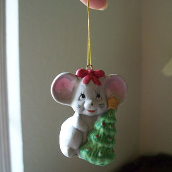 Vintage Ceramic Gray Mouse Holding a Christmas Tree Ornament