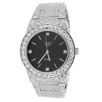 Men's Solitaire Bezel Nugget Band Gold Techno Pave Watch