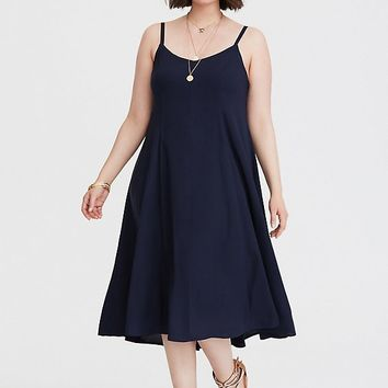 Navy Trapeze Challis Midi Dress