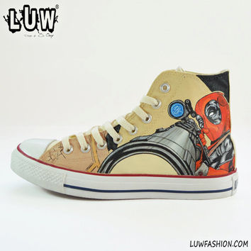 DEADPOOL - marvel comics, customized sneakers, unisex shoes, comics shoes, handpainted sneakers, wade wilson, weapon x, custom converse