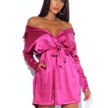 Kinsley Fuchsia Satin Off the Shoulder Dress