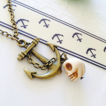 Antique bronze anchor charm necklace with skull bead