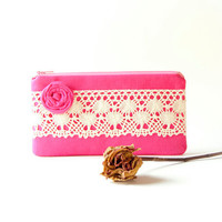 Wedding Clutch Purse/ Bridesmaid clutch/ Zippered Pouch clutch hot pink natural lace