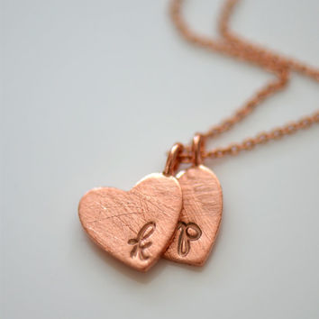Rose Gold Heart Monogram Necklace , Initial Heart Necklace , Personalized , Hand Stamped Necklace, Custom Necklace , Mom Gift