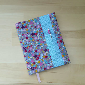 Spring Flower Garden with Blue Tonal Print ~ Composition Notebook Cover