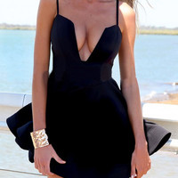 Black Cami Deep V-Neck Skater Dress
