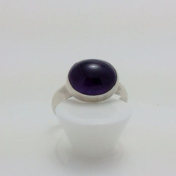 Amethyst Ring - Bezel Set Sterling Silver Ring with Oval Stone Cabochon