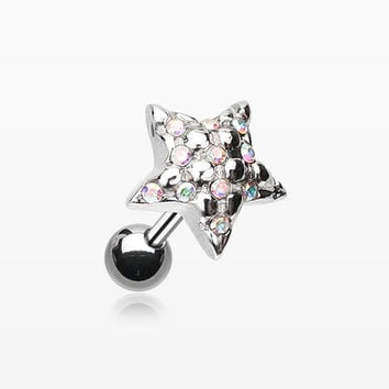 Fluffy Star Multi-Gem Cartilage Earring
