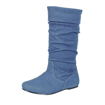 Flat Low Heel Slouch Boots