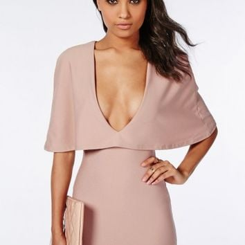 Missguided - Crepe Cape Bodycon Dress Taupe