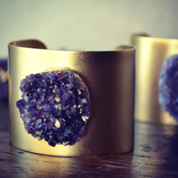 LUX Bohemian 2 Inch Gold Plated Natural Amethyst Druzy Wire Wrapped Gemstone Cuff