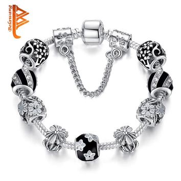 Vintage Fashion Silver Bracelet Murano Glass & Crystal Enamel Charm Beads European Style Bracelets Best Gift PS3493