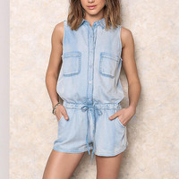 Light Denim Collared Drawstring Romper