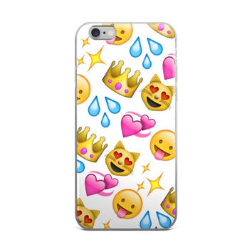 Glowing Stars Water Squirt Tongue Out Smiley Face Heart Eyes Smiling Cat Purple Heart & Princess Crown Emoji Collage Teen Cute Girly Girls White iPhone 4 4s 5 5s 5C 6 6s 6 Plus 6s Plus 7 & 7 Plus Case