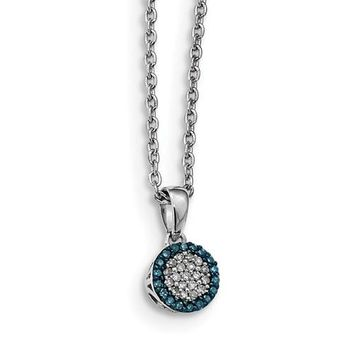 Sterling Silver Blue And White Diamond Round Halo Pendant Necklace