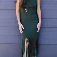 Deep Green Tassel Detail Basic Vest Dress