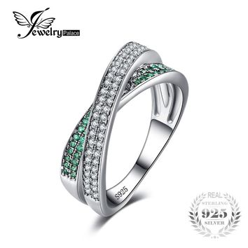 JewelryPalace Infinity Russian Created Emerald Anniversary Wedding Band Ring 925 Sterling Silver For Women 2016 New High Quality
