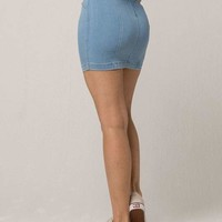 SKY AND SPARROW Seamed Light Wash Denim Mini Skirt