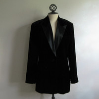 Vintage 1980s ESCADA Jacket Black Cotton Velvet Tuxedo 80s Margeretha Ley Blazer 38 US6