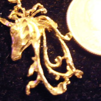 bling 14kt yellow gold plated fantasy mythical magic stonehenge fantasy legend folklore unicorn pendant charm 24 inch rope chain hip hop trendy fashion necklace jewelry