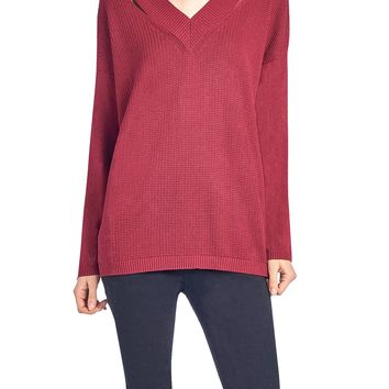 Long Sleeve Pullover Sweater With Cut Out V-Neck