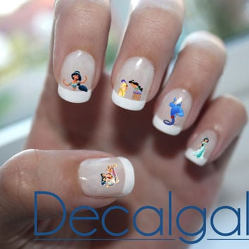 Aladdin & Jasmine Disney Princess Nail Art Water Transfer Decal - Waterslide Paper - Water Slide Paper