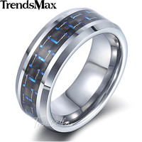 Trendsmax Tungsten Carbide Band Ring Mens Boys 8mm Silver Red Blue Carbon Inlay