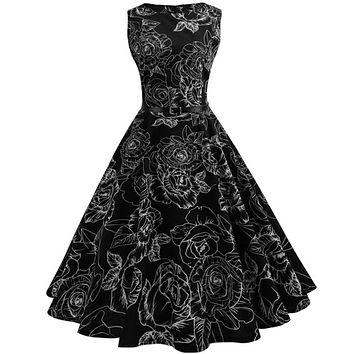 Women Vintage Floral Bodycon Sleeveless Casual Evening Party Prom Swing Dress