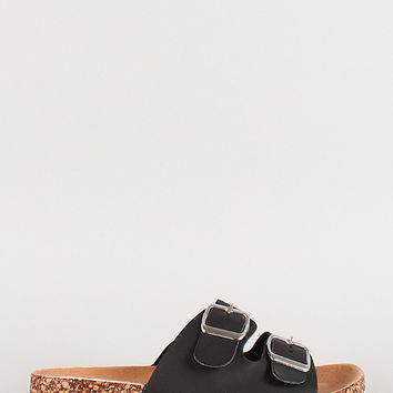 Wild Diva Double Buckle Slip On Footbed Sandal