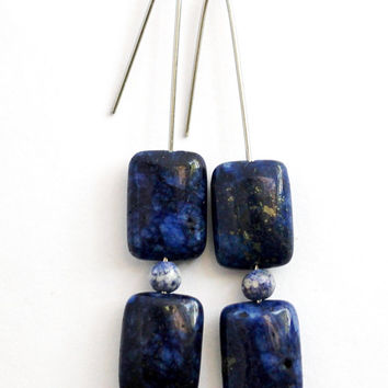 Blue Lapis Lazuli Stone Earrings, Minimalist Style, Dark Blue Stone Beads, Stainless Steel Ear Wires, Dangle Earrings Handmade by Hendywood