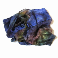 OOAK Silk scarf ruffled Hand Dyed dark-blue ocher violet green New design