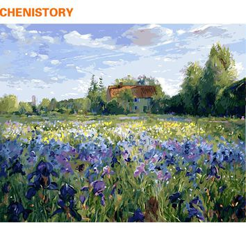 CHENISTORY Frameless Purple Flower DIY Painting By Numbers Landscape Wall Art Picture Hand Painted Oil Painting For Home Decor