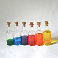 Six Pack Clear Mini Wine Bottles with Corks for Altered Art, Gifts, Packaging and More