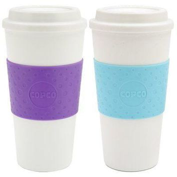 Copco Set of 2 Acadia Double Walled Insulation Travel Mug 16 Ounce Blue Lilac