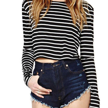 Black Long Sleeves Striped Crop T-Shirt