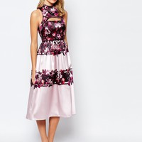 True Violet Full Prom Midi Dress In Sateen With Cut Out