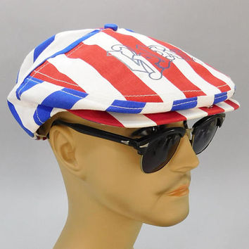 1970's Vintage / Flat Cap / Driving Cap / 1976 Bicentennial / VP Fair St. Louis / Red White & Blue / American Flag / Golf Hat / Snap Back